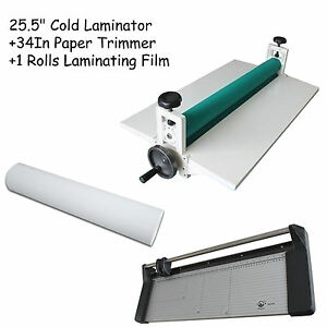 25 5 Cold Laminator 34in Rotary Paper Cutter 1 Matte Rolls Laminating Film Kit