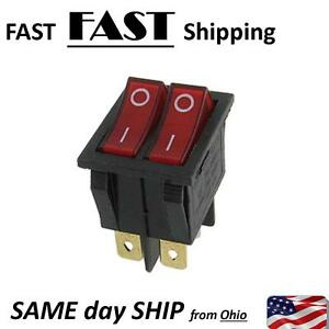 Red Light Double Spst On off Snap In Boat Rocker Switch 6 Pin