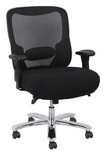 Big Tall Reception Office Task Chair In Black Fabric With Adjustable Height