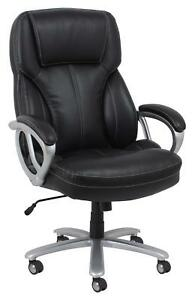 Big Tall Executive Office Chair In Black Bonded Leather W adjustable Height