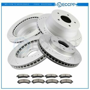 For Chevy S10 Blazer Gmc 2x Front Rear Drilled Slotted Brake Rotors Ceramic Pads