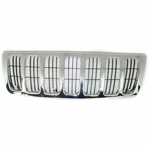 New Chrome Shell W Black Insert Plastic Grille For Jeep Grand Cherokee 99 03