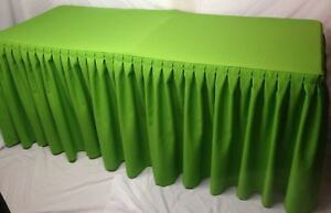 5 Fitted Polyester Double Pleated Table Skirting Cover W top Topper Apple Green