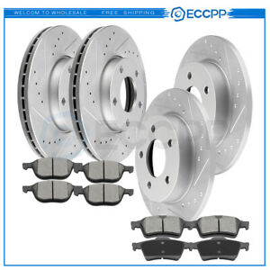 For 2008 2013 Mazda 3 Front Rear Drilled Slotted Brake Discs rotors Ceramic Pads