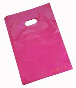 Pink Glossy Low density Plastic Merchandise Bags Wholesale Lot Bags In 3 Sizes