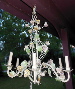 Vintage Large Cottage Shabby Italian Tole Chic Pastel Floral Roses Chandelier