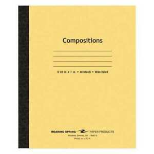 144pk Composition Books 48 Sht 8 5 x7 Flex Manila Wide Roaring Spring 77308