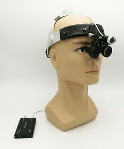Dental Medical Leather Headband Type Led Head Light And Binocular 3 5x Loupe