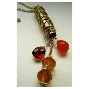 Bullet Casing Drop Necklace Rhinestones Orange Red Crystals Gold Tone Chain Bras
