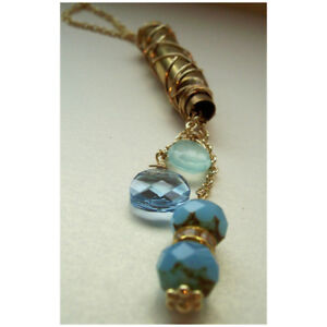 Bullet Casing Drop Necklace Rhinestones Blue Crystals Gold Tone Chain Brass