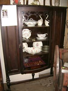 Antique Solid Wood China Bowed Glass Front Door Cabinet Hutch
