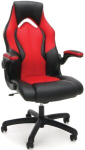 Racing Style Gaming Office Chair In Black Softthread Leather Red Mesh