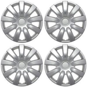 Set Of 4 15 Inch Silver Hub Caps with Metal Clips Wheel Covers Cap Cover