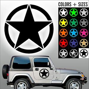 Army Star Jeep Usmc Military Willys Car Decal Laptop Sticker Sizes And Colors