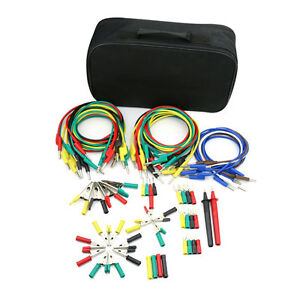 Electronic Multimeter Test Lead Probes Kit Alligator Clips Banana Pugs Set