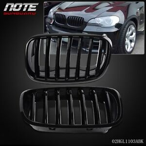 2 Pcs Glossy Black Front Bumper Kidney Grille For Bmw E70 X5 E71 X6 2007 2013