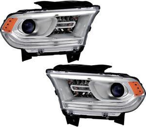 Headlights Headlight Assembly w led Drl Pair Set For 2014 2015 Dodge Durango