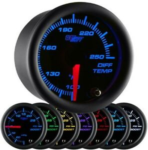 Glowshift 52mm Black 7 Color Rear Differential Diff Temperature Gauge Gs C722
