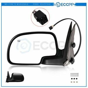 For 2000 2002 Chevy Gmc Black Power Heated Driver Side View Mirror Left Lh