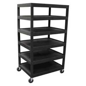 Utility Cart six Flat Shelf Luxor Bc60 b