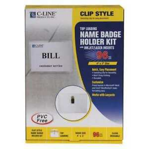 C line Products 95596 Clip Style Name Badge Holders 4x3 pk96 G7813526