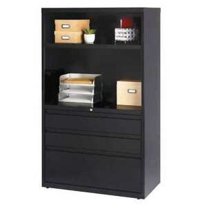 36 Wide Combo Lateral File Cabinet 3 Drawer With Shelves Bk Hirsh 19627