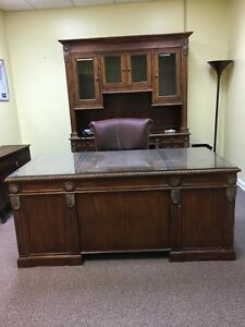 Old World Style Mahogany Executive Desk And Credenza