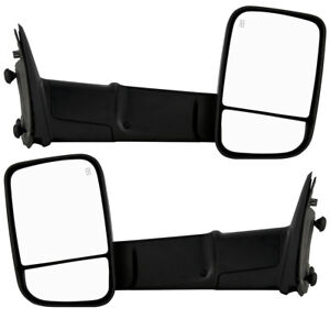 New Set Of 2 Power Heated Smoked Signal Towing Mirror For Dodge Ram 2009 2012