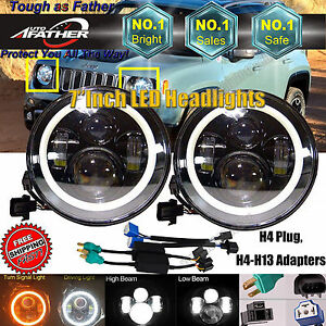 7inch Halo Angel Eyes Led Projector Headlights For Jeep Wrangler Liberty Patriot
