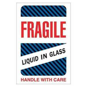 Tape Logic Dl1590 Labels fragile liquid In Glass 4 x6 Multiple 500
