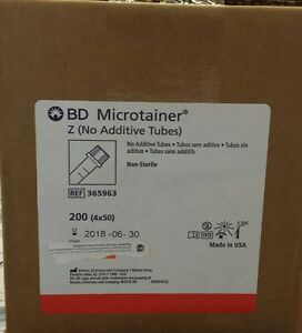 Bd Microtainer Vacutainer 365963 No Additive Serum Microgard 50 Pk Exp 09 2018