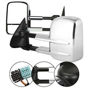 New Set Of 2 Power Heated Chromed Towing Mirrors For Chevy gmc Trucks 2003 2006
