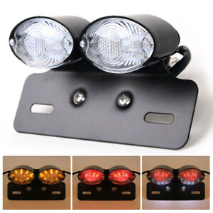 Motorcycle Brake Plate Turn Signal Integrated Tail Led Light Universal Fit 12v