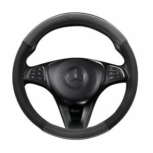 Black Grey Car Steering Wheel Cover Universal Fit 38cm 15 Inches
