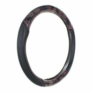 Car Steering Wheel Cover Pu Leather W Pink Needle Thread Universal Auto Fit