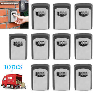 10pc Wall Mounted Key Safe Box Outdoor Durable Lock Storage Organizer W 4 Digit