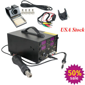 4 In1 Rework Soldering Station Hot Heat Air Gun Ac Power Supply 110v 800w 909d