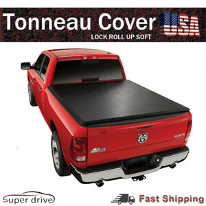 For 2015 2019 Ford F 150 8 Ft 96 Bed Premium Lock Roll Up Soft Tonneau Cover