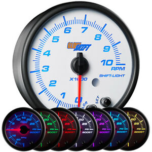 Slightly Used Glowshift White 7 Color 3 3 4 In Dash 10 000 Rpm Tachometer Gauge