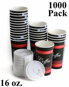 1000 Pack 16 Oz Poly Paper Disposable Hot Tea Coffee Cups With Flat White Lids