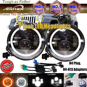 2x 7 Led Headlight Lamps H6024 For Jeep Wrangler Jk Lj Tj Cj Fj Wrangler Liberty