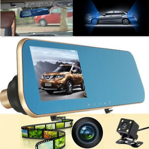 Mirror Dual Lens Monitor Full 4 3 Lcd Car Dvr Rear View Camera Driving Recorder