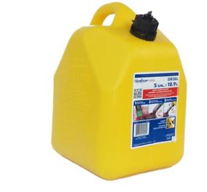 5 gallon Plastic Diesel Can Fuel Cans Tank Yellow Oil Gas Spout Child resistant