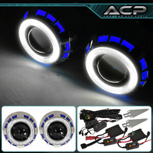 Headlight Retro Fit Projector Bi Xenon Shroud Ccfl Halo Ring 2 5 Hid Blue White