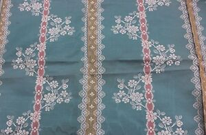 French Antique 19thc Hamot Brocaded Moir Silk Lampas Sample Fabric Turquoise