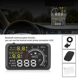 X3 Car 5 5 Bluetooth Hud Digital Head Up Display Obd2 Mph Speed Warning System
