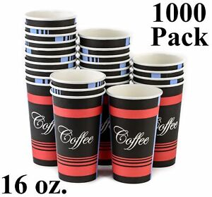 1000 Pack 16 Oz Eco Friendly Poly Paper Disposable Hot Tea Coffee Cups No Lids