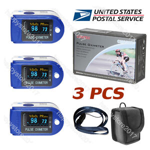 3 Pcs Us Fda Cms50d Finger Tip Pulse Oximeter Blood Oxygen Spo2 Monitor Blue