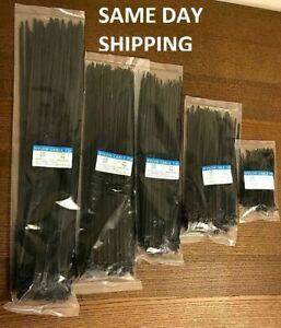 100 1000 Pcs 4 To 18 Usa Industrial Black Wire Cable Zip Uv Nylon Tie Wraps