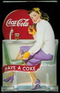 Coca Cola Diner Girl Metal Sign Signboard 3D Embossed Arched Tin 7 7/8x11